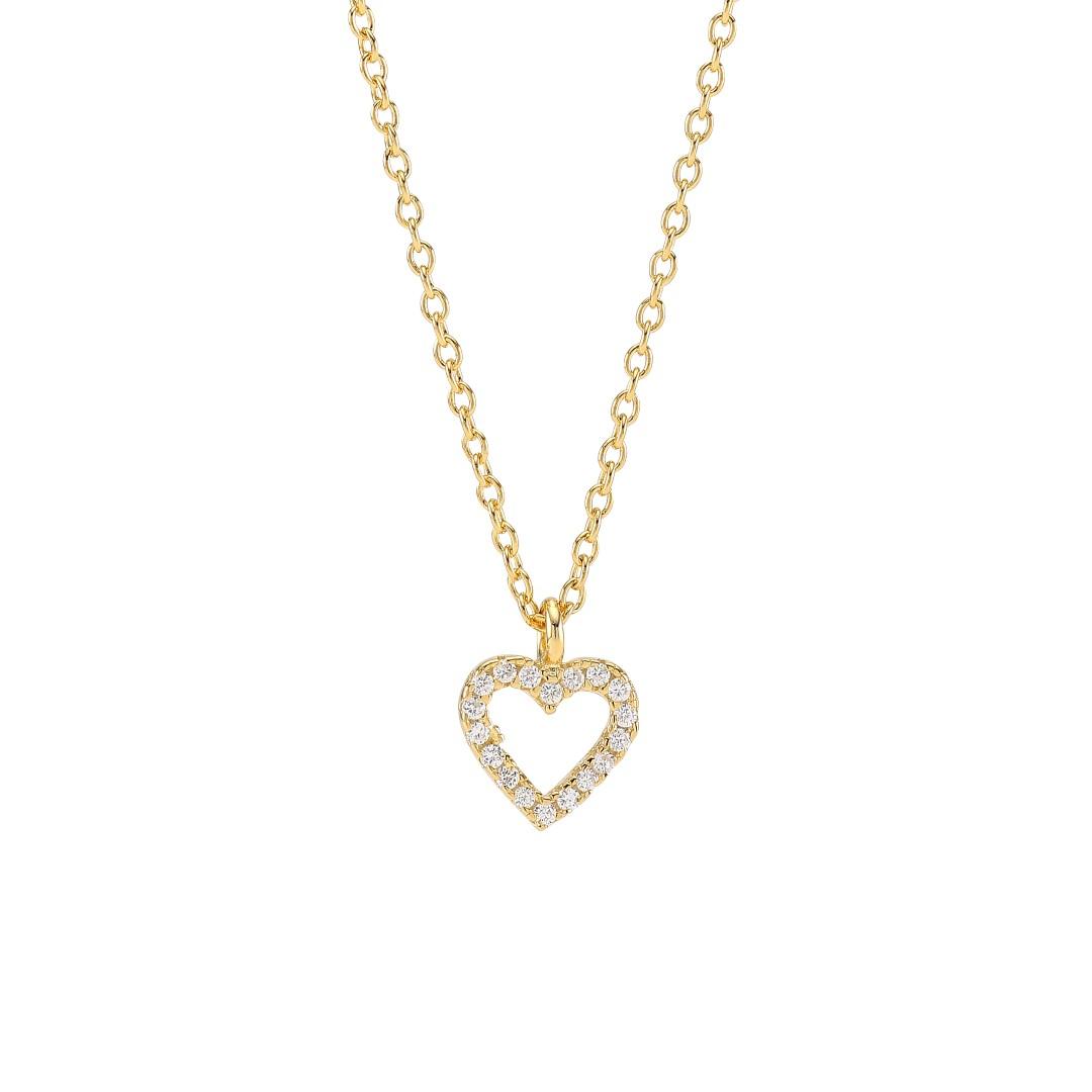 Joanli Aida forgyldt halskæde med lille hjerte, 42+3 cm kæde