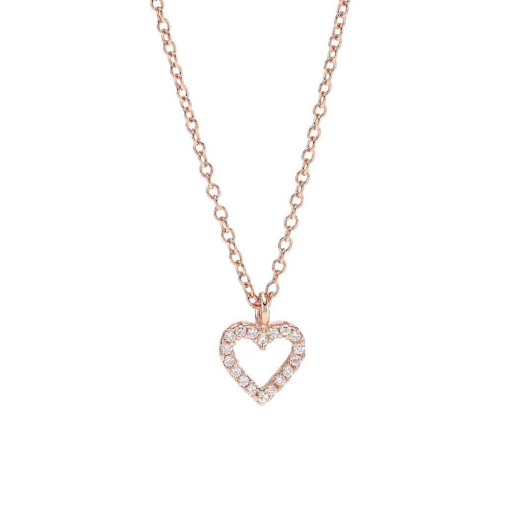 Joanli Aida rosaforgyldt halskæde med lille hjerte, 42+3 cm kæde