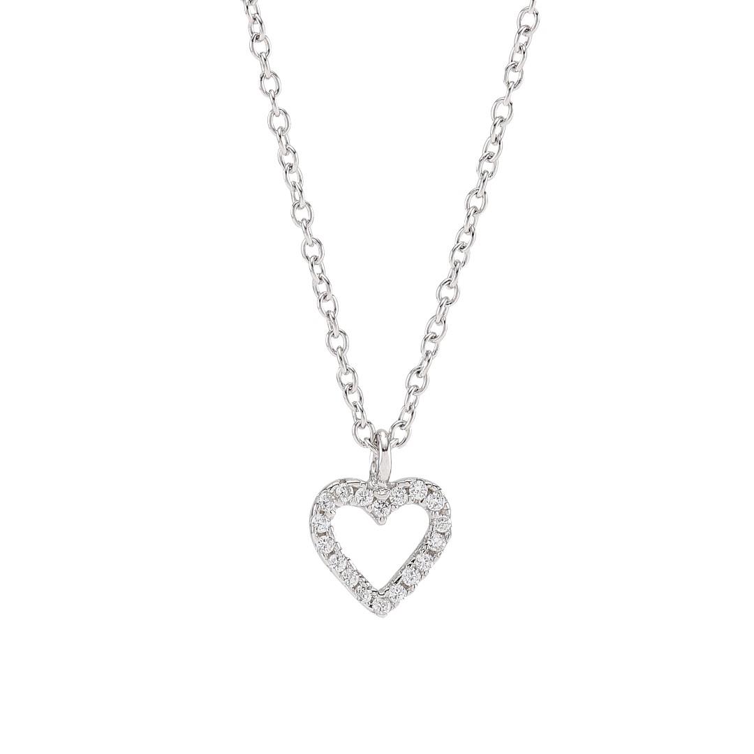 Joanli Aida sølv halskæde med lille hjerte, 42+3 cm kæde