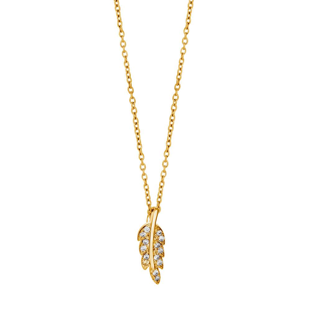 Billede af Joanli Alexia forgyldt halskæde med lille blad, 42+3 cm kæde