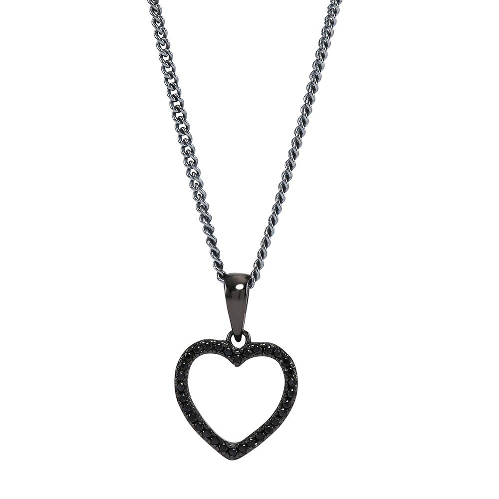 Joanli Aida sort sølv halskæde med mellem hjerte, 42+3 cm kæde