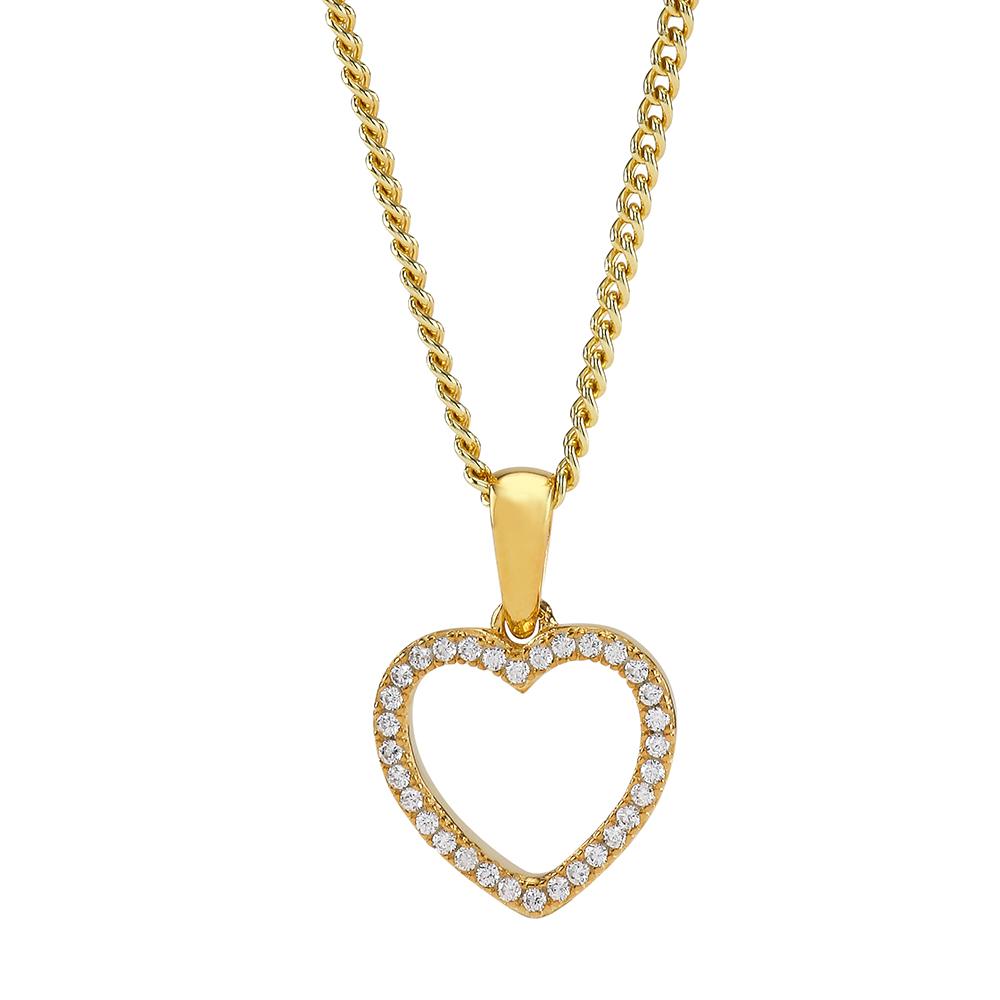 Joanli Aida frogyldt halskæde med mellem hjerte, 42+3 cm kæde