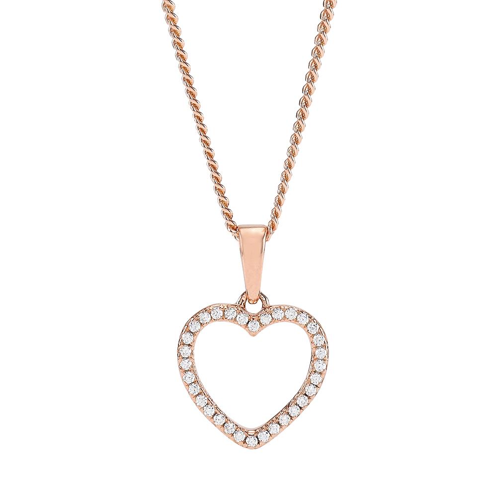 Joanli Aida rosaforgyldt halskæde med mellem hjerte, 42+3 cm kæde thumbnail