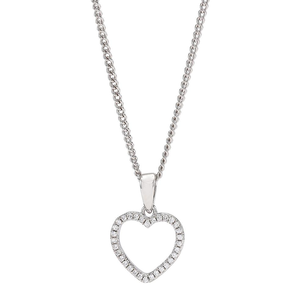 Joanli Aida sølv halskæde med mellem hjerte, 42+3 cm kæde