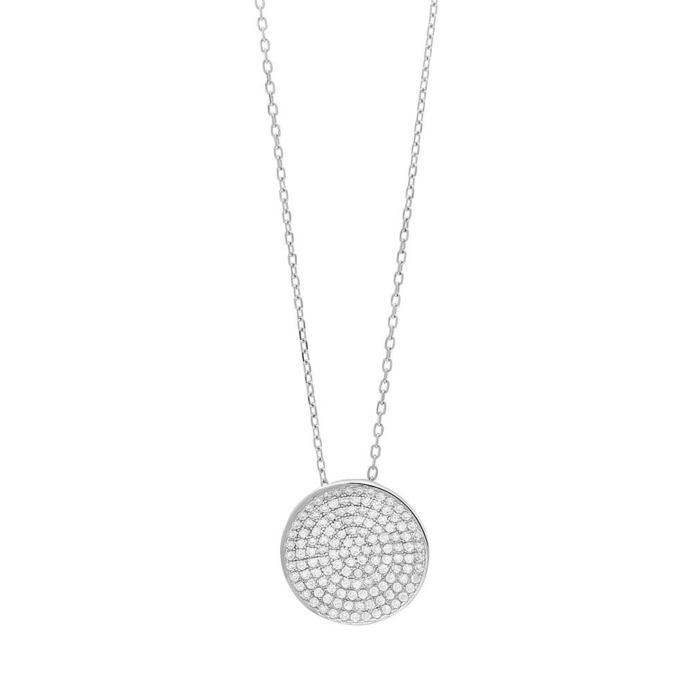 Joanli Abbie sølv halskæde med rundt vedhæng, 80 cm kæde