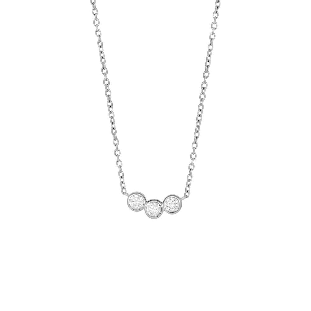 Joanli Cristin sølv halskæde med 3 zirkoner vedhæng, 42+3 cm kæde