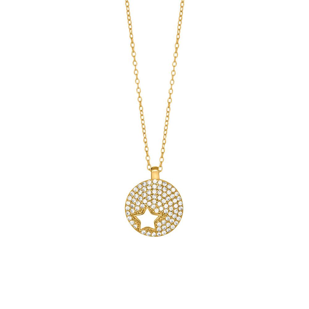 Joanli Cala forgyldt halskæde med stjerne i cirkel, 42+3 cm kæde