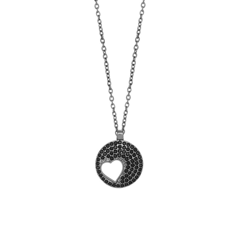 Joanli Cornelia sort sølv halskæde med hjerte i cirkel, 42+3 cm kæde