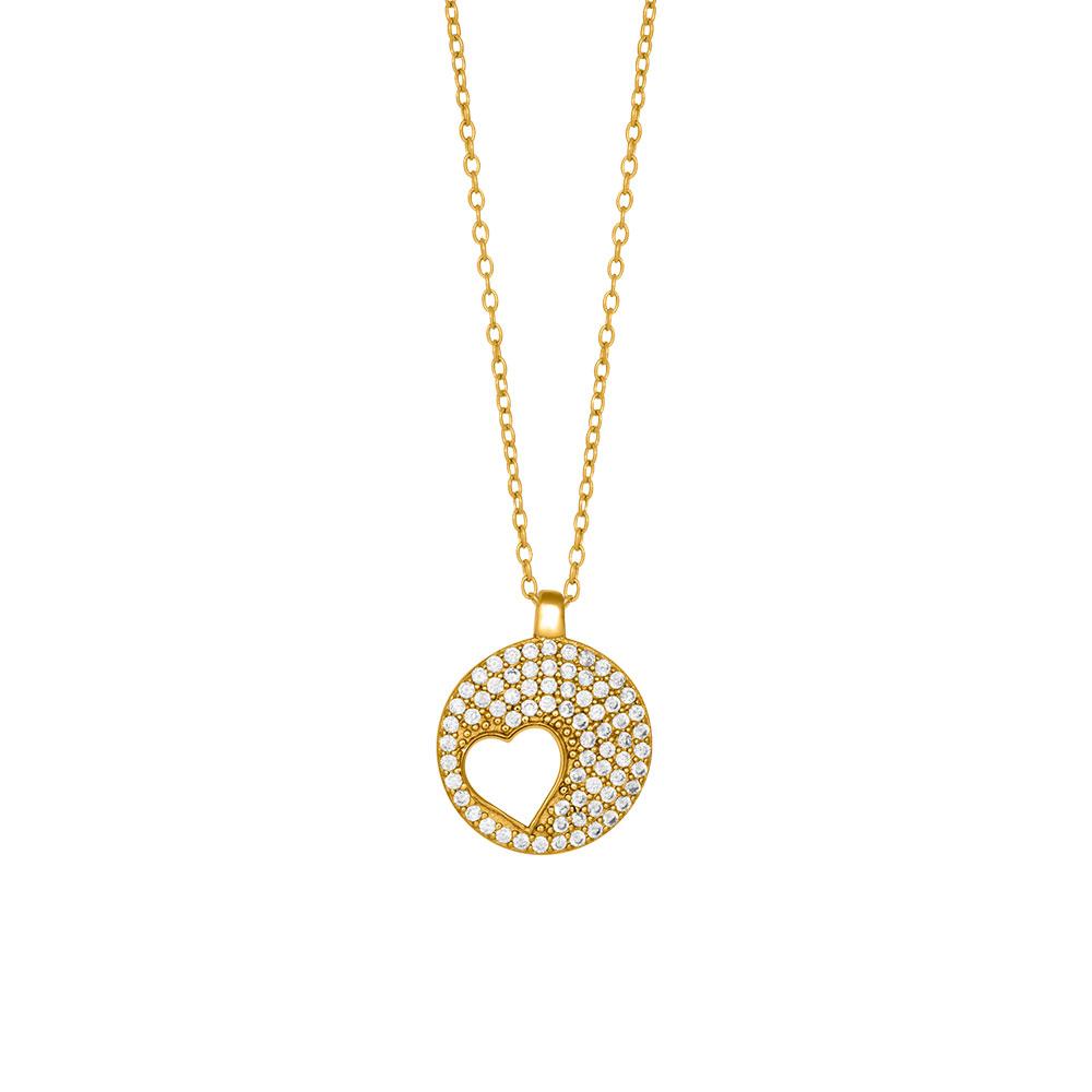Joanli Cornelia forgyldt halskæde med hjerte i cirkel, 42+3 cm kæde