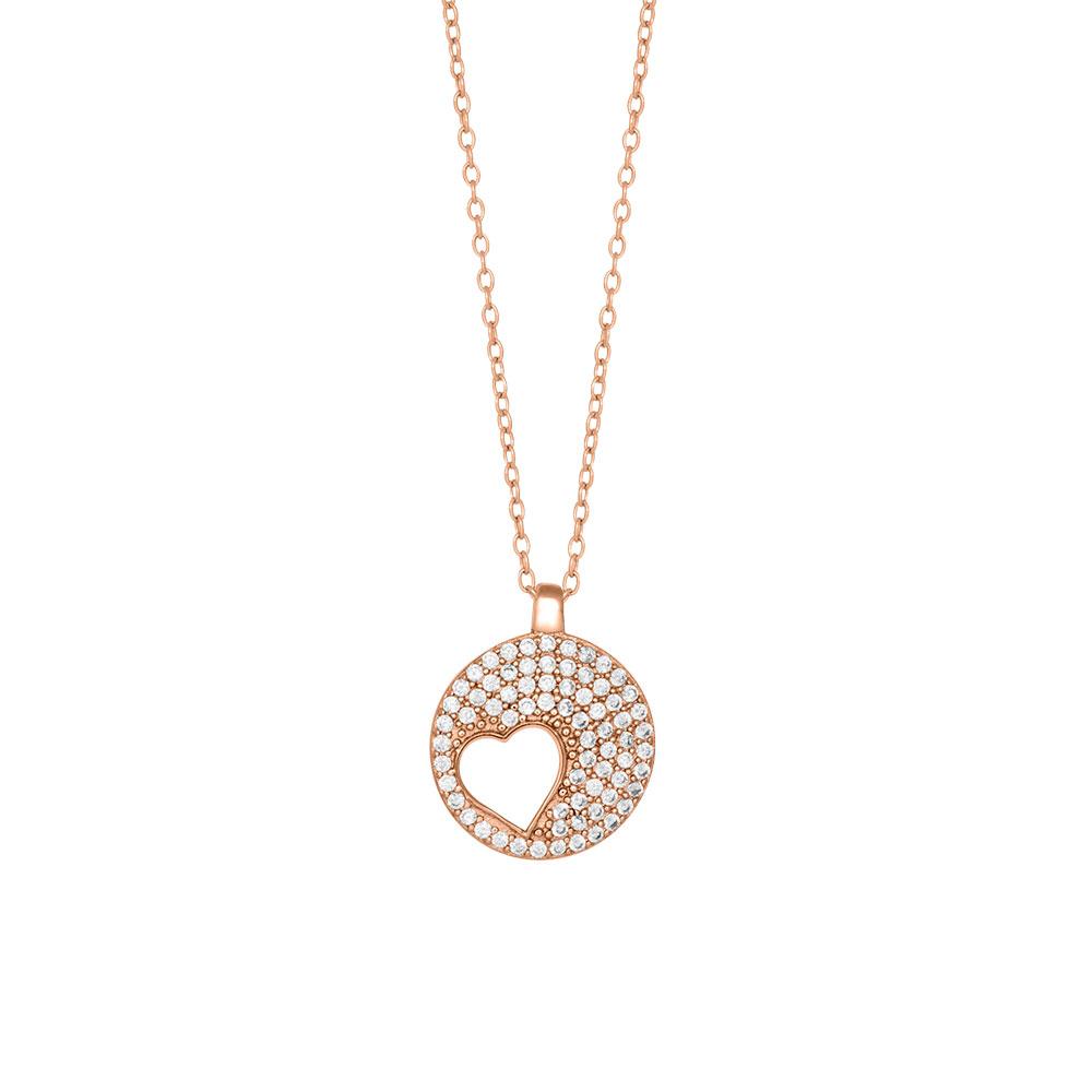 Joanli Cornelia rosaforgyldt halskæde med hjerte i cirkel, 42+3 cm kæde