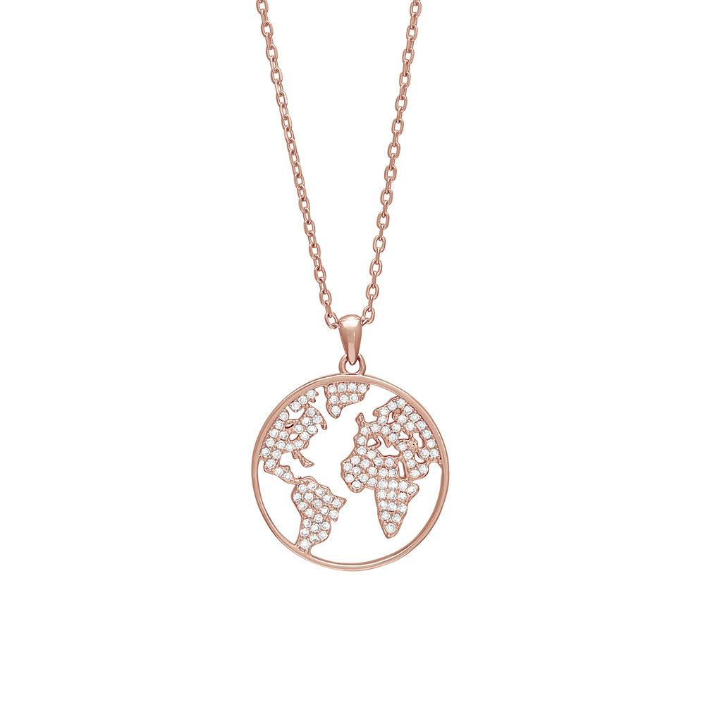 Image of   Joanli ETTANOR World halskæde med vedhæng i rosa med cz