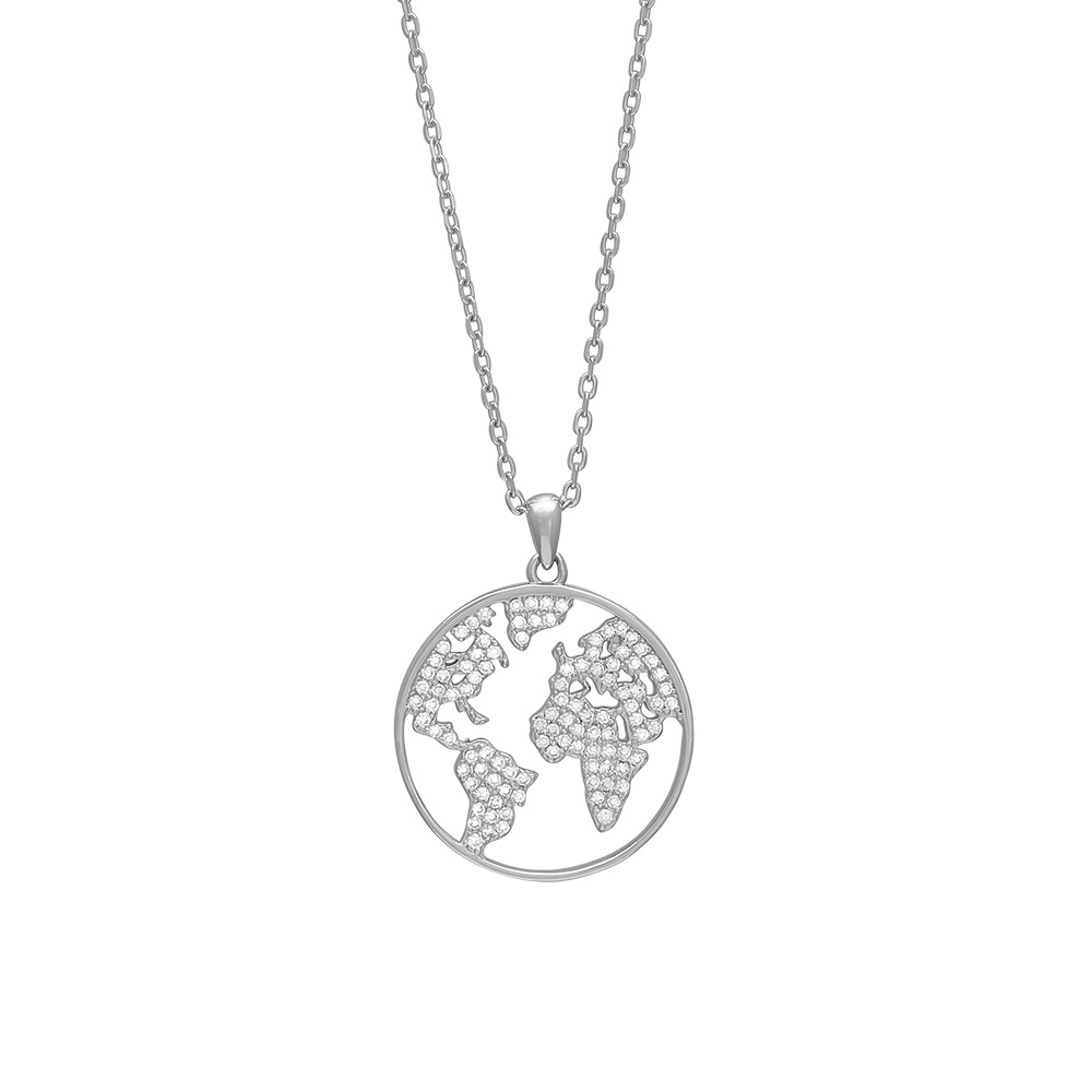 Joanli ETTANOR World halskæde med vedhæng i sølv med cz