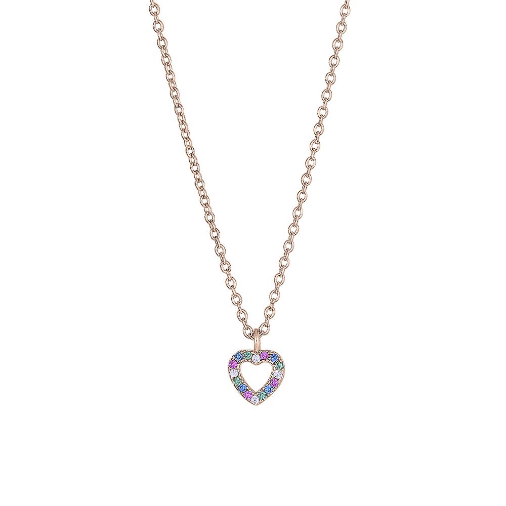 Joanli FanaNor hjerte halskæde i rosaforgyldt med farvede zirkoner