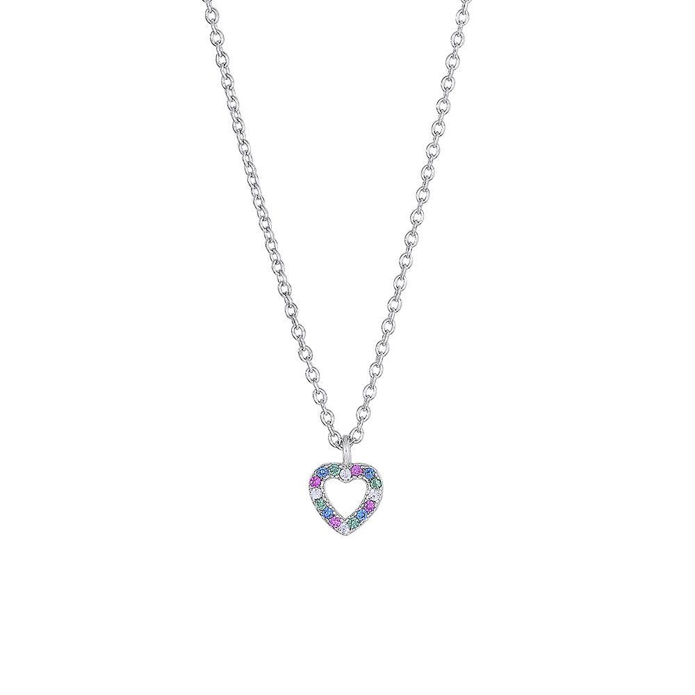 Joanli FanaNor hjerte halskæde i sølv med farvede zirkoner