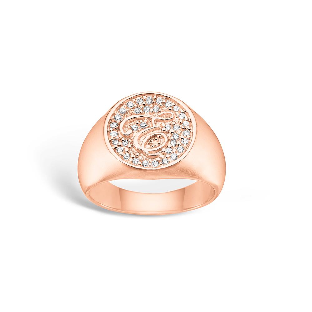 E-Signature sølv ring rosé forgyldt 'e-signet' blank hvid CZ