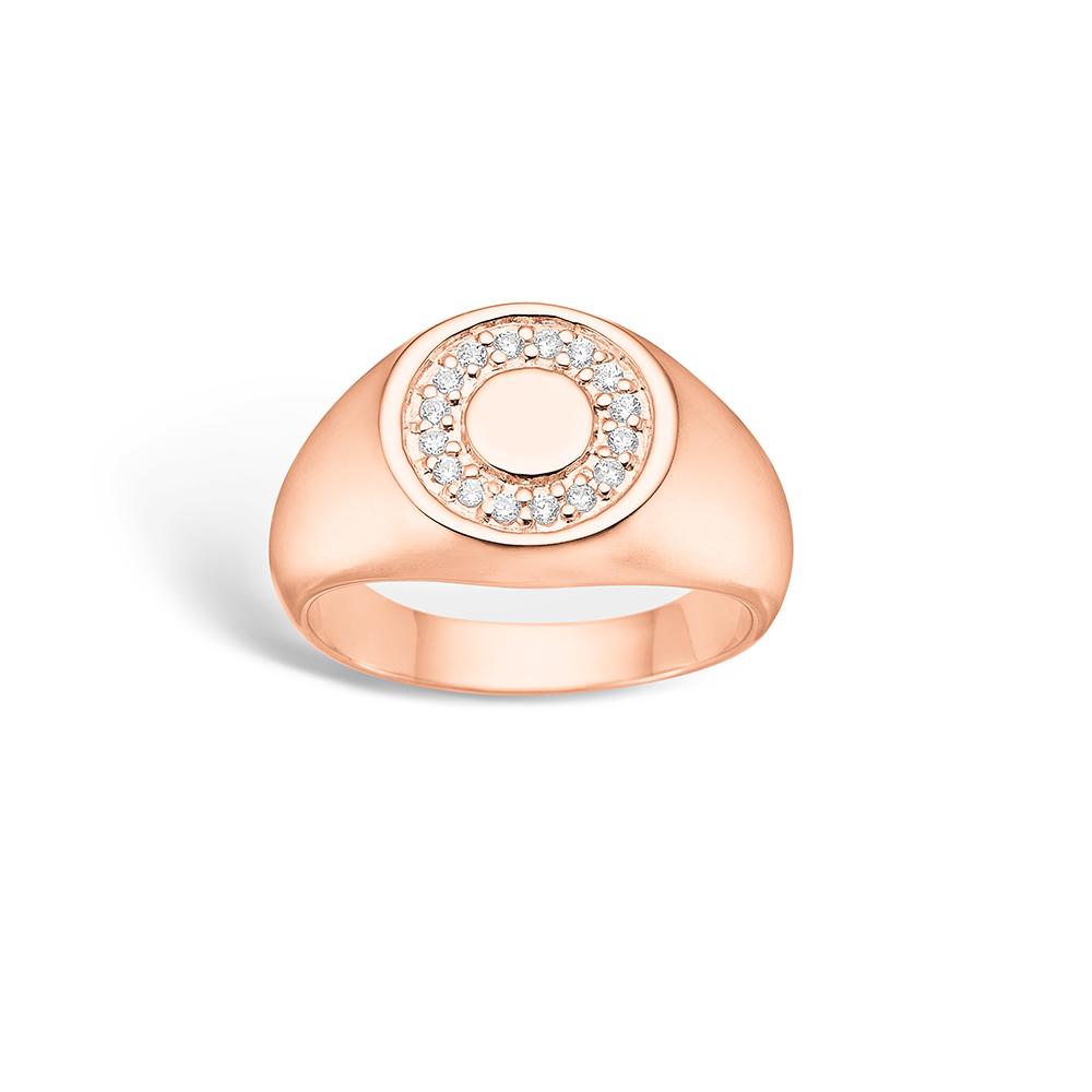 E-Signature sølv ring rosé forgyldt 'signet' blank hvid CZ