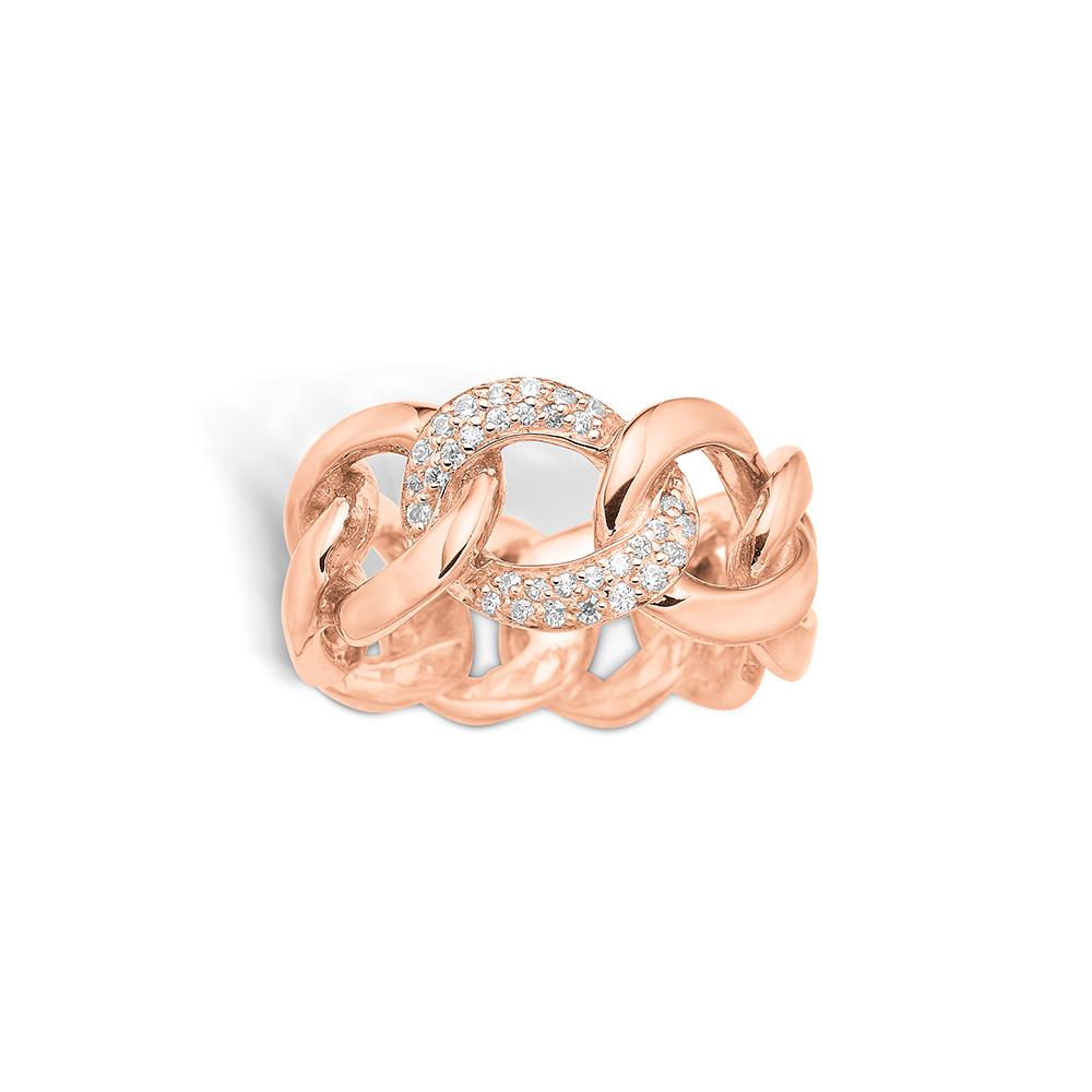 E-Signature rosa forgyldt kæde ring med cz, bred model
