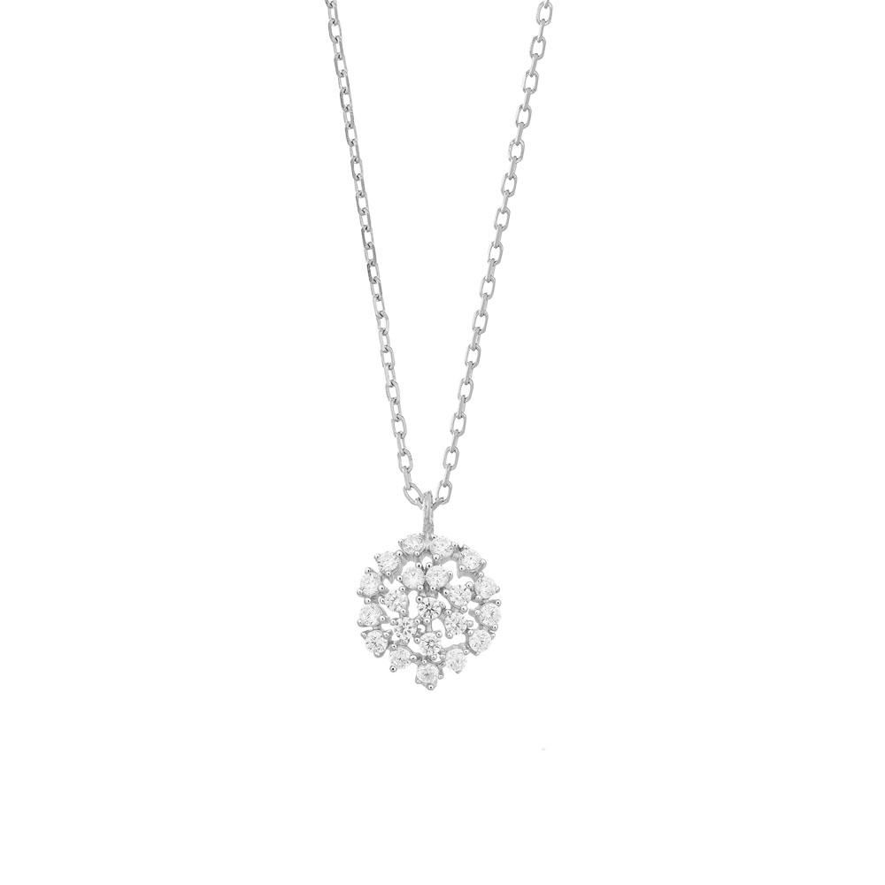 Joanli DORA sølv halskæde med lille rundt vedhæng med cubic zirkonia