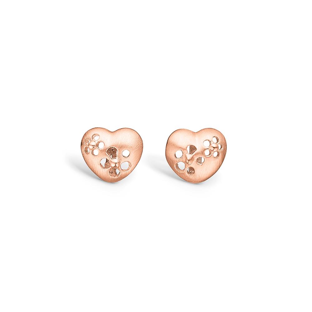Blossom rosa forgyldt hjerte ørestikker med blomster hulmønster thumbnail