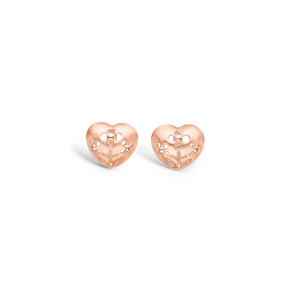 Blossom rosa forgyldt hjerte ørestikker med tre blomster hulmønster