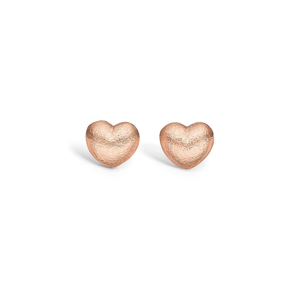 Blossom rosa forgyldt hjerte ørestikker, mat hamret