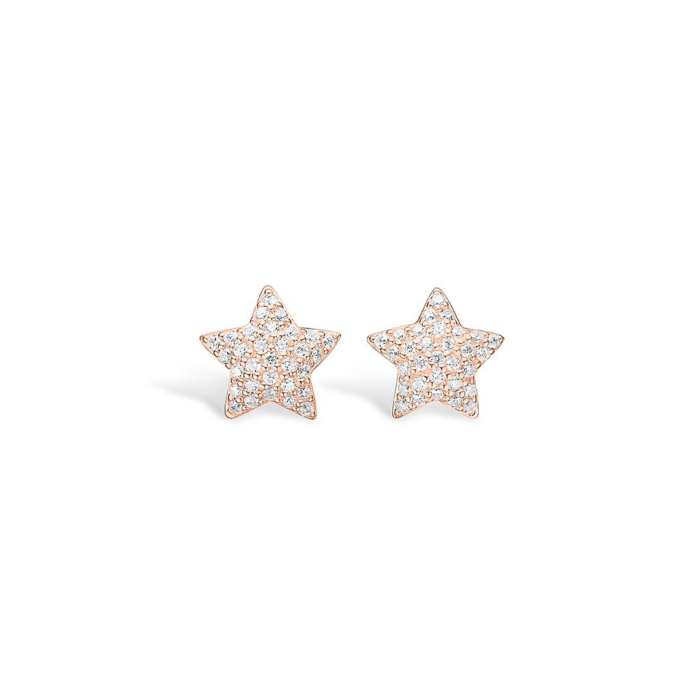 E-Signature rosa forgyldt pave stjerne ørestikker med hvide cz