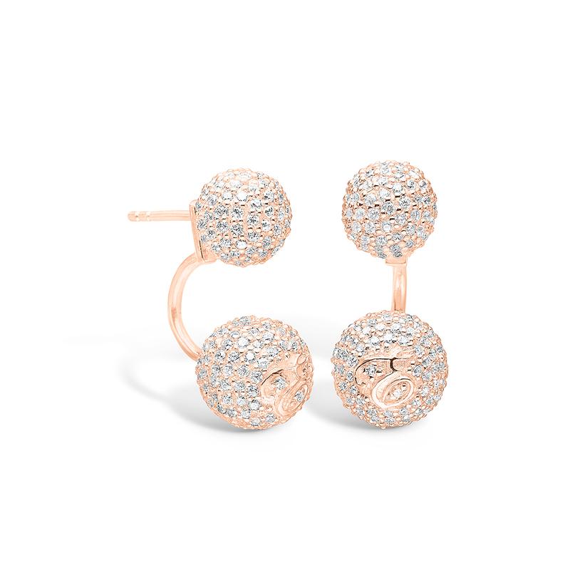 E-Signature rosa forgyldte kugle øreringe med hvide cz