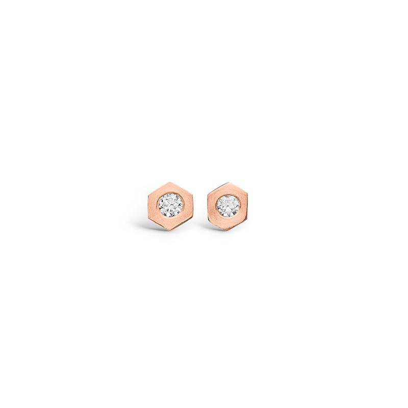 E-Signature rosa forgyldt sekskantet ørestikker med hvid cz