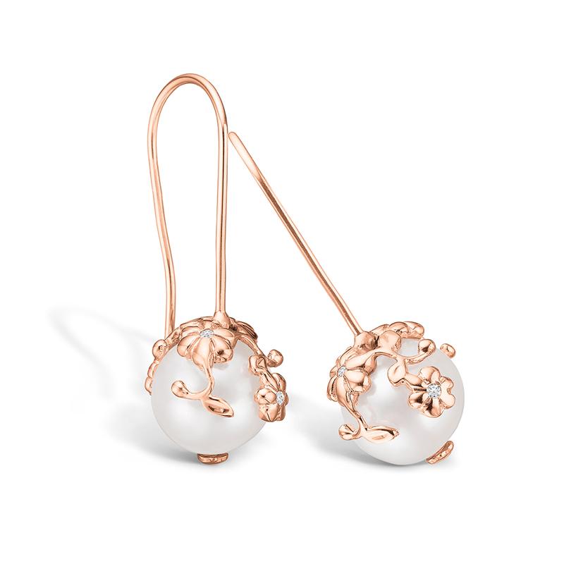 Blossom rosa forgyldt perle blonde ørehænger med hvide cz