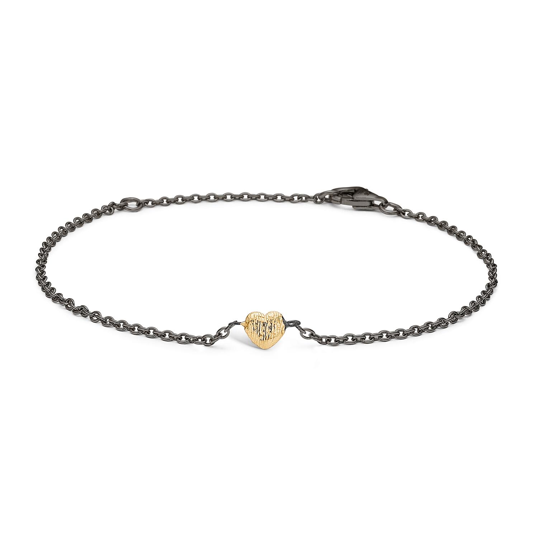 Blossom sort sølv armbånd med forgyldt hjerte, 17+3 cm