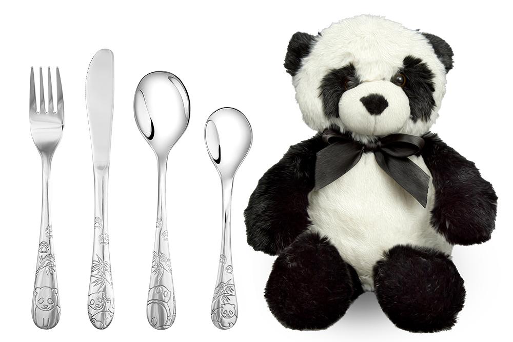 Image of   Barnebestik Panda i stål inkl. blød bamse