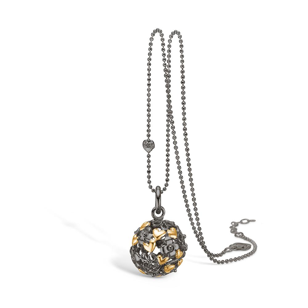 Image of   Blossom sølv sort rhodineret kugle vedhæng med forgyldte hjerter, 80cm