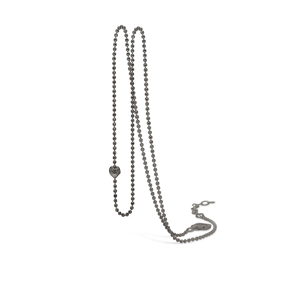Blossom sort rhodineret kugle halskæde med børstet hjerte