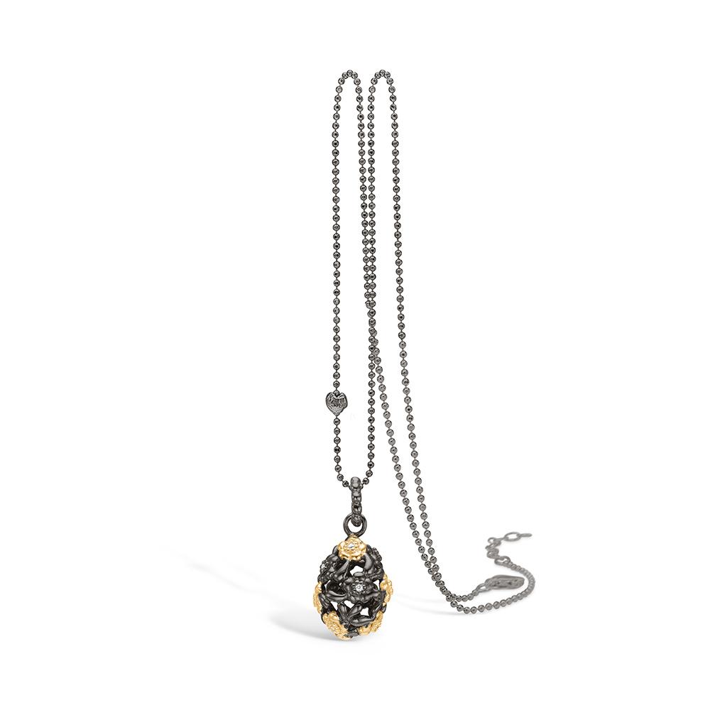 Blossom sølv sort rhodineret aflang kugle vedhæng med sort og forgyldte blomster, 80cm