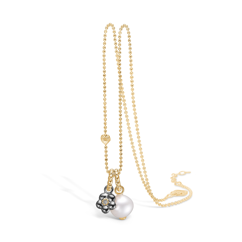 Image of   Blossom forgyldt halskæde med perle og blomster vedhæng