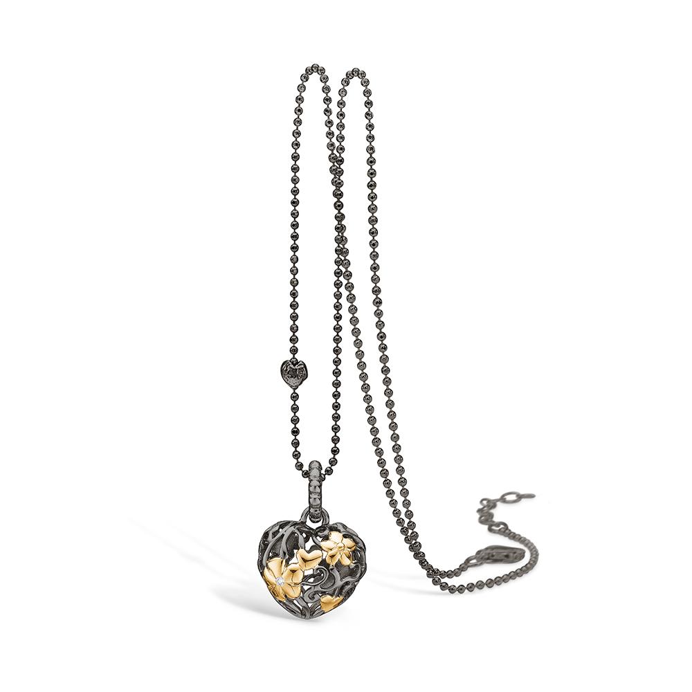 Image of   Blossom sølv sort rhodineret hjerte vedhæng med forgyldte blomster, 42+3 cm, brill. 0,01ct