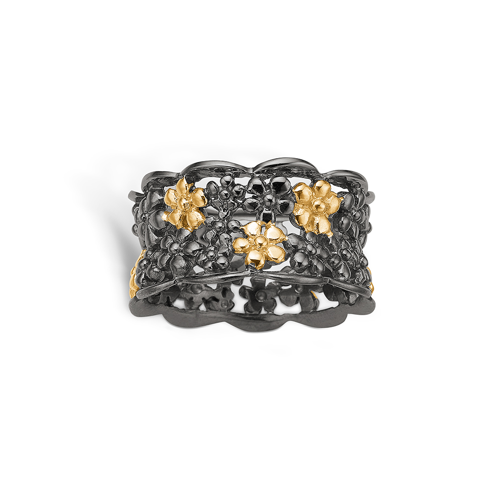 Blossom sølv sort rhodineret bred blomster ring med forgyldte blomster