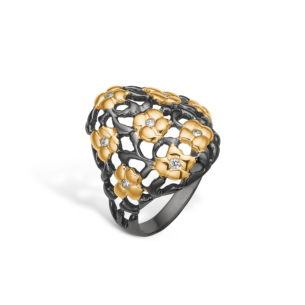 Blossom sølv sort rhodineret ring med forgyldte blomster og cz
