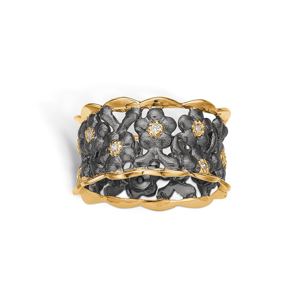 Blossom sølv sort rhodineret bred ring med forgyldt blondekant