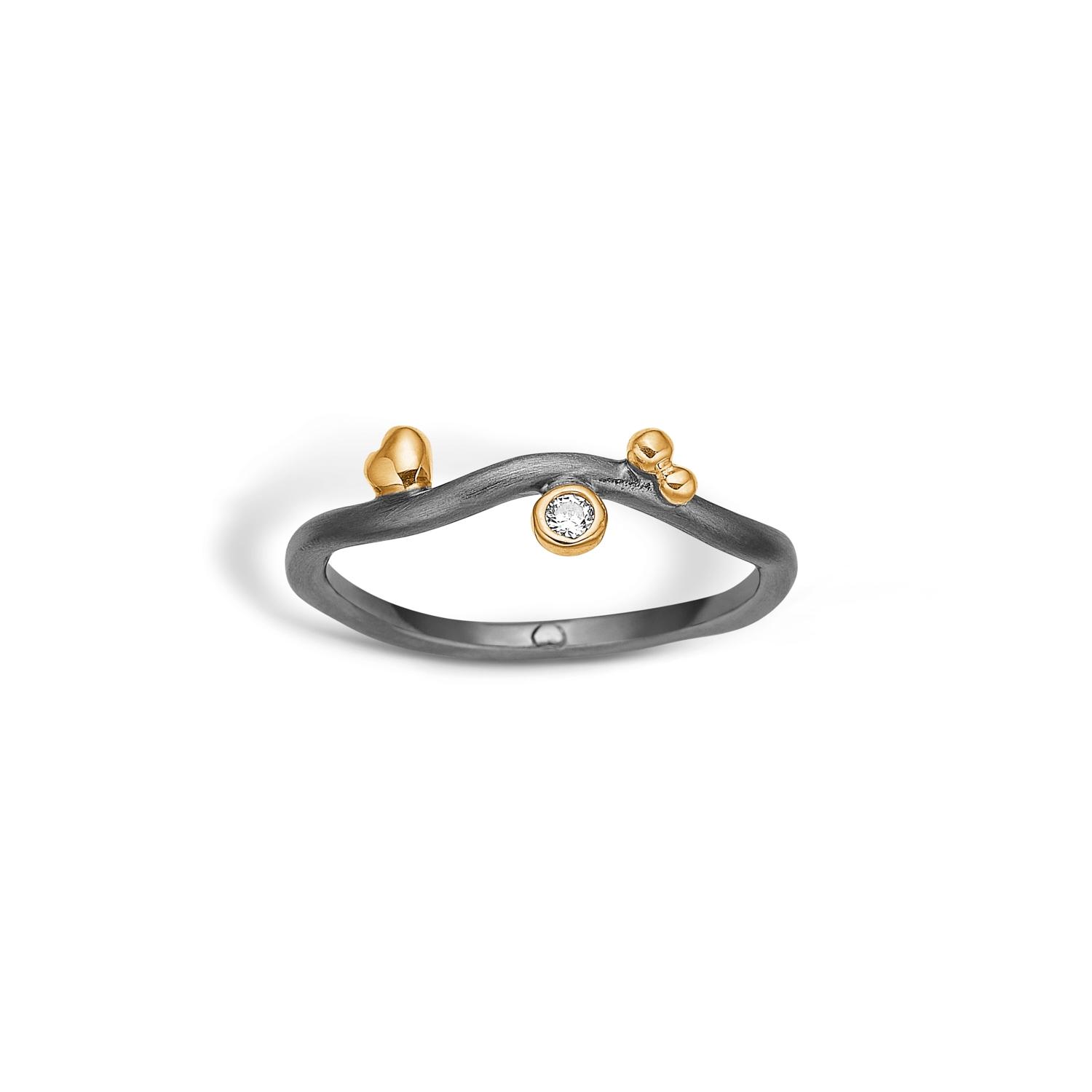 Image of   Blossom ring i sort sølv med forgyldt og cz