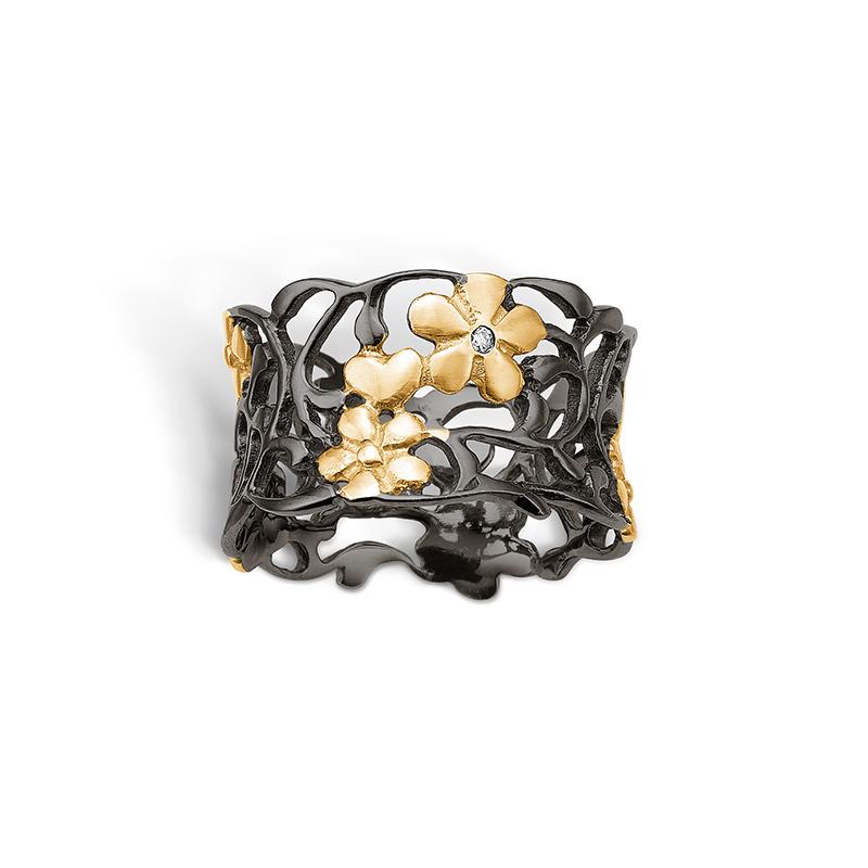 Blossom sølv ring sort rhod. med forgyldte blomster, brill 0,01ct