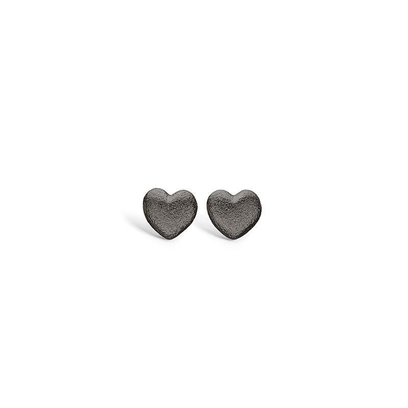 Blossom sølv sort rhodineret hjerte ørestikker