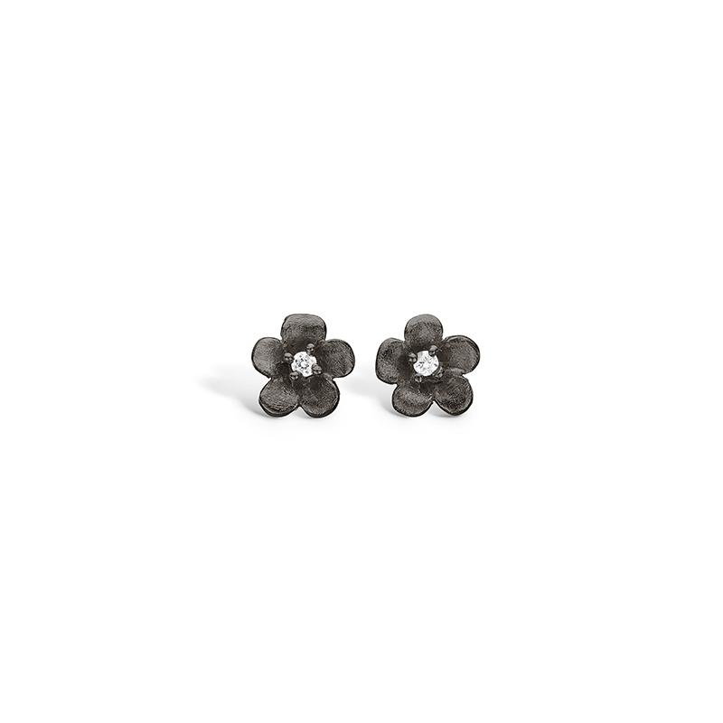Blossom sølv sort rhodineret blomster ørestikker med cz