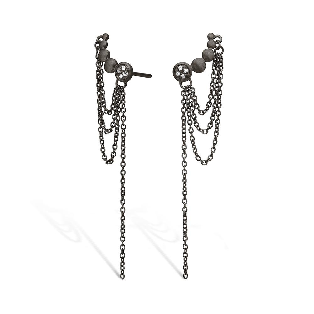 E-Signature sølv sort rhodineret ørestikker med kæde
