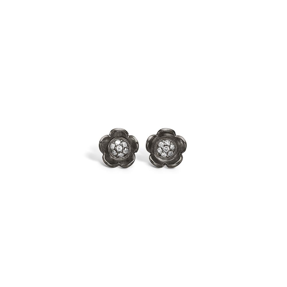 E-Signature sølv sort rhodineret blomster ørestikker blank med CZ