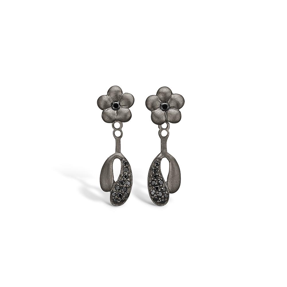 E-Signature sølv sort rhodineret blomster ørestikker i mat look