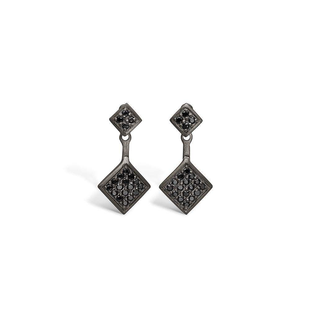 E-Signature sølv sort rhodineret ørestikker med sort cz