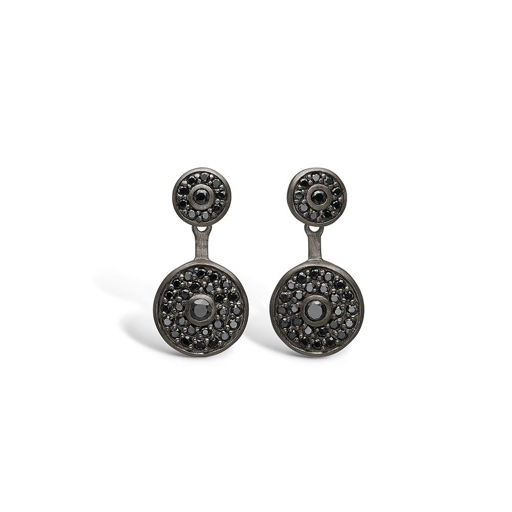 E-Signature sølv sort rhodineret ørestikker med sorte cz