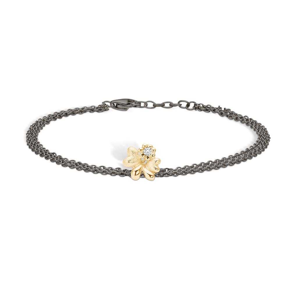 Image of   Blossom sølv sort rhodineret armbånd med 14 kt. hjerter, brill 0,03ct, 19 cm
