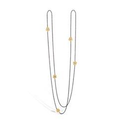 Blossom sølv sort rhodineret collier med 14 kt. guld blomster 5 * brill. på i alt 0,05 ct, 90 cm